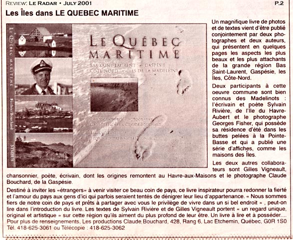Review Le Quebec Maritime Le Radar 2001 FRE