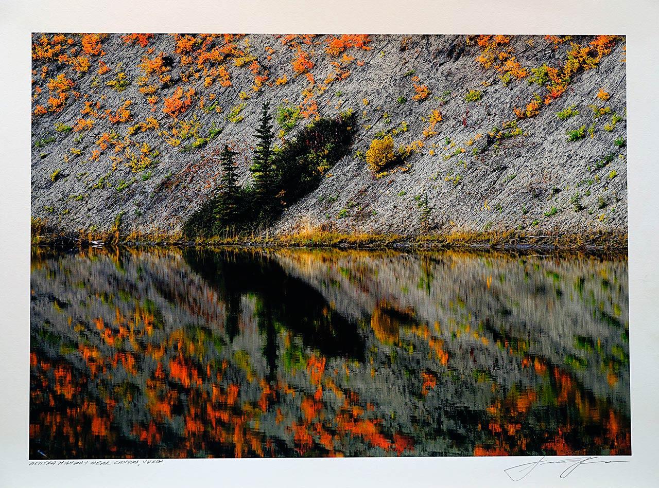 print-Canada-Alaska-highway-near-canyon-Yukon